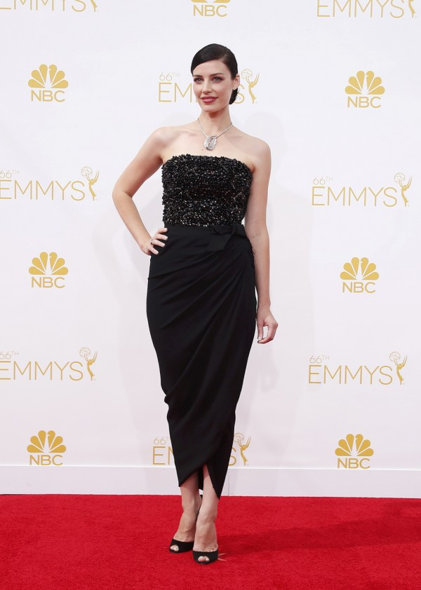 Jessica Pare arrives at the 66th Primetime Emmy Awards in Los Angeles