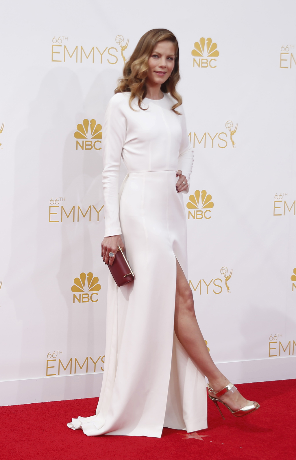 "Actress Michelle Monaghan, from the HBO drama series ""True Detective,"" arrives at the 66th Primetime Emmy Awards in Los Angeles"