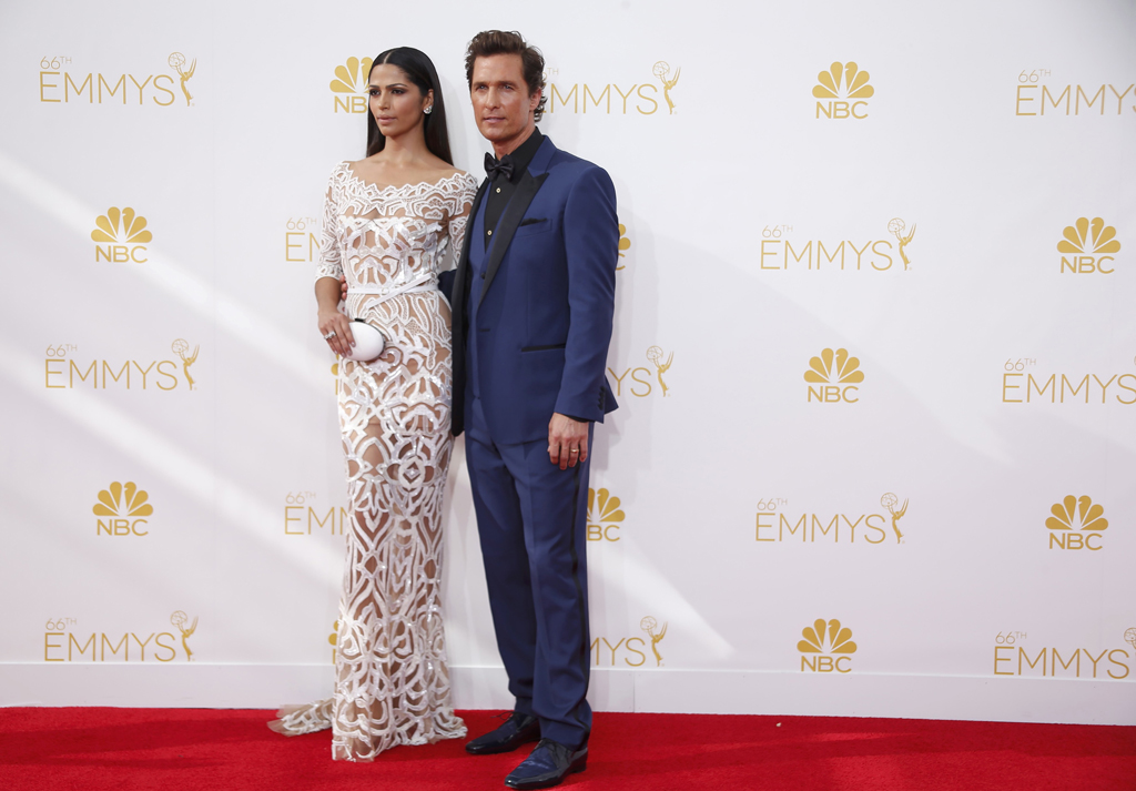 Matthew McConaughey and Camila Alves McConaughey arrive at the 66th Primetime Emmy Awards in Los Angeles