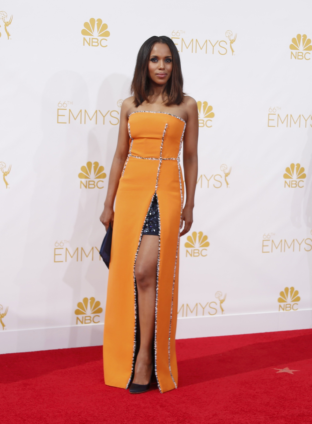 "Kerry Washington from the ABC series ""Scandal"" arrives at the 66th Primetime Emmy Awards in Los Angeles"