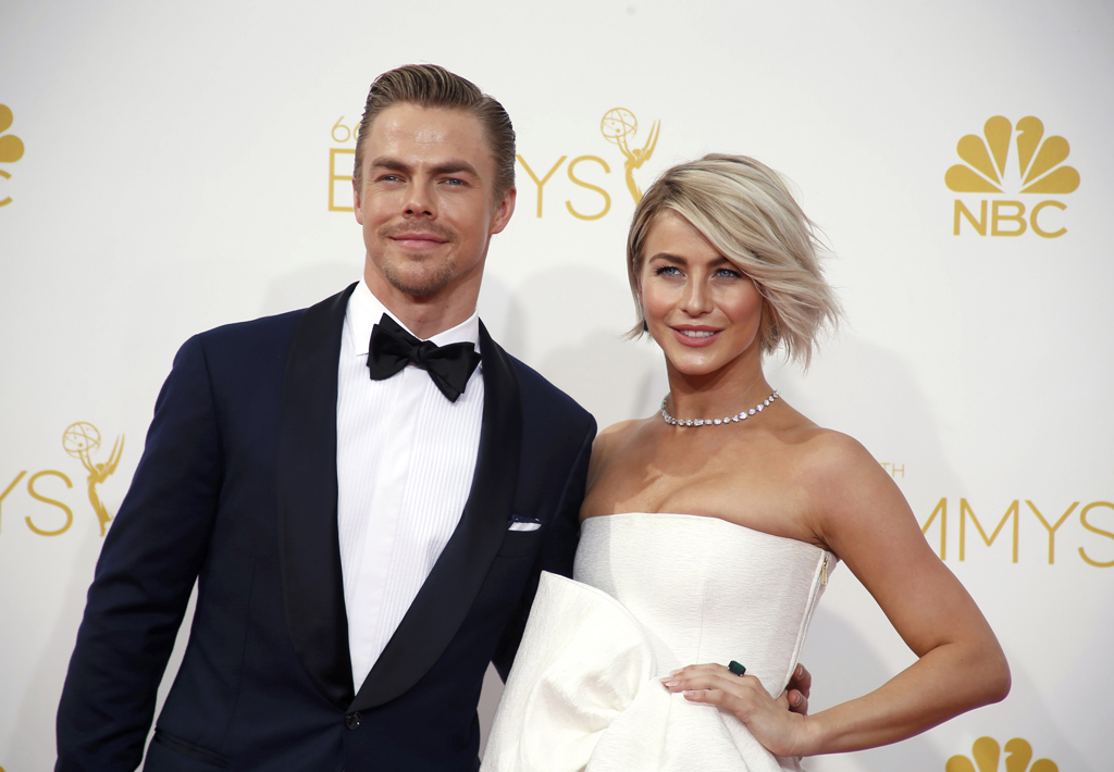 Julianne Hough and Derek Hough arrive at the 66th Primetime Emmy Awards in Los Angeles