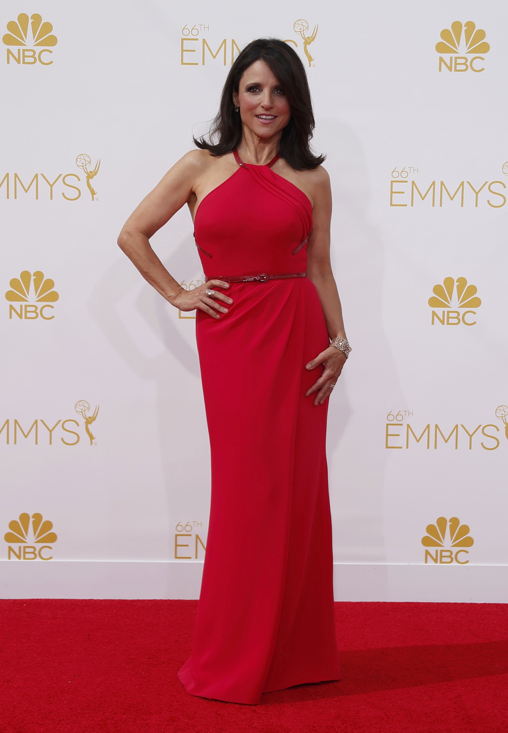 "Actress Julia Louis-Dreyfus from the HBO sitcom ""Veep"" arrives at the 66th Primetime Emmy Awards in Los Angeles"