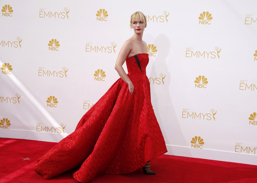 """January Jones from the AMC series """"Mad Men"""" arrives at the 66th Primetime Emmy Awards in Los Angeles"""