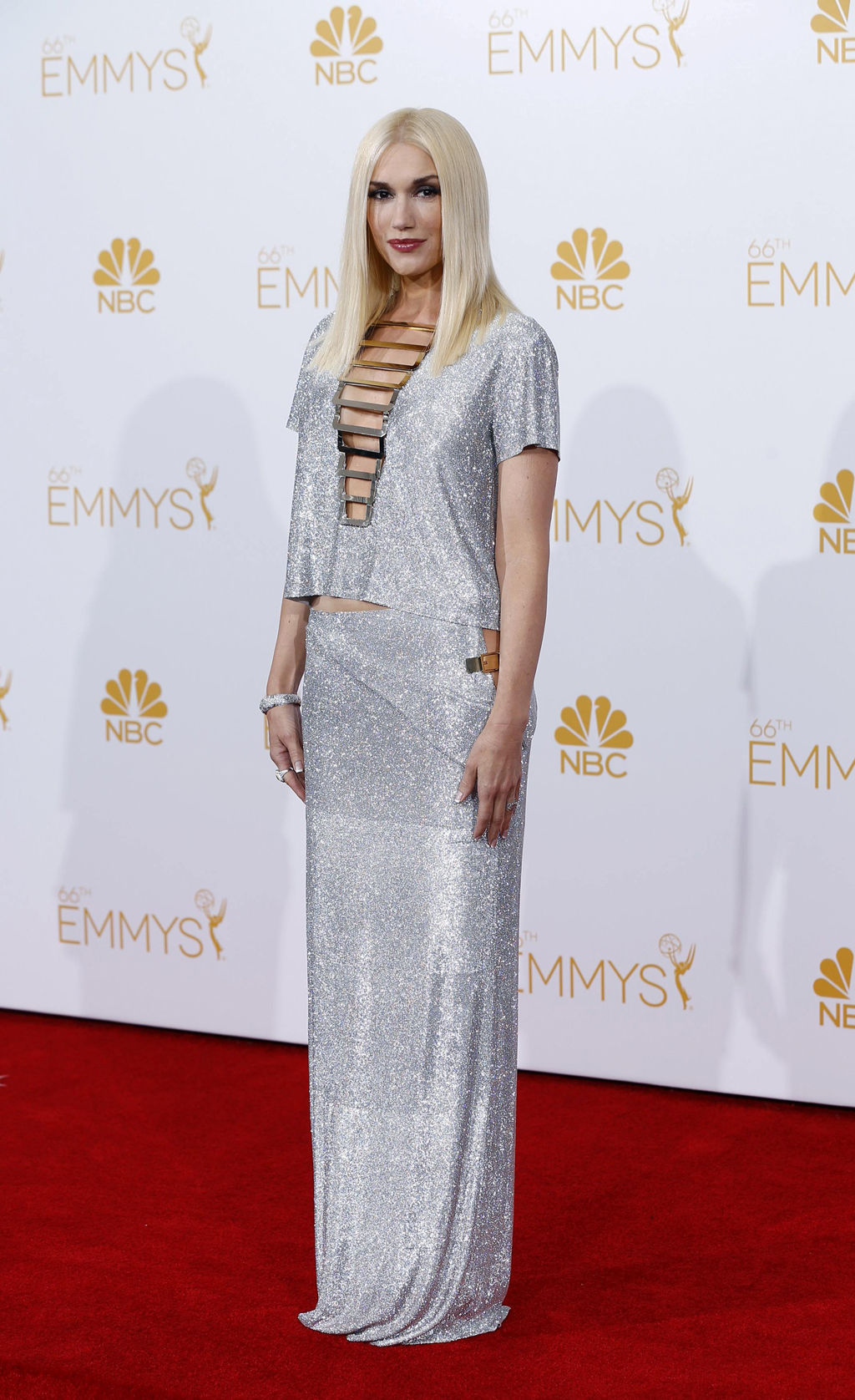 Presenter Gwen Stefani poses at the 66th Primetime Emmy Awards in Los Angeles