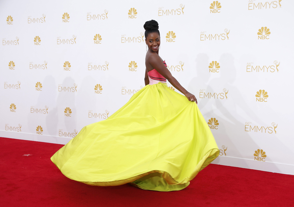 "Teyonah Parris, from the AMC drama series ""Mad Men,"" arrives at the 66th Primetime Emmy Awards in Los Angeles"