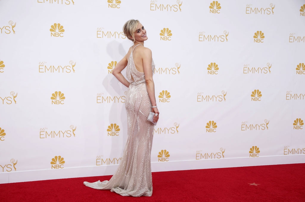 """Taylor Schilling from Netflix """"Orange is the New Black"""" arrives at the 66th Primetime Emmy Awards in Los Angeles"""