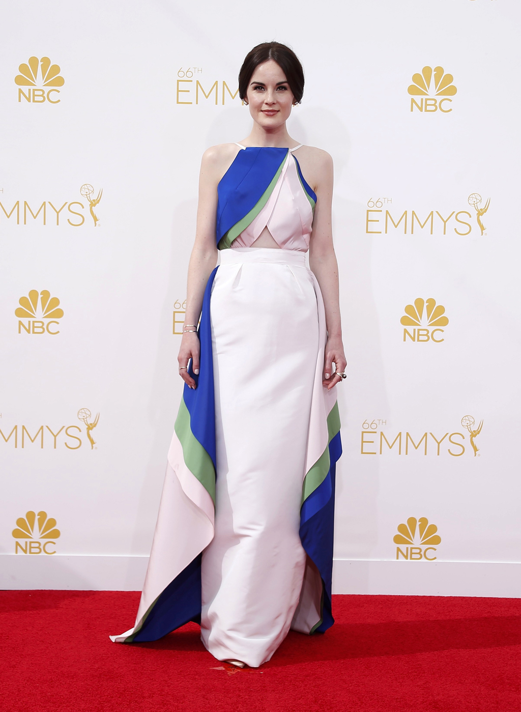 Michelle Dockery arrives at the 66th Primetime Emmy Awards in Los Angeles