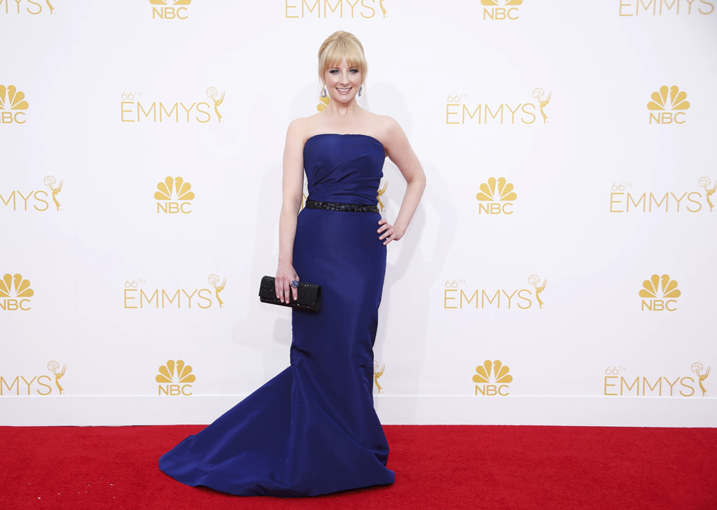 Melissa Rauch arrives at the 66th Primetime Emmy Awards in Los Angeles