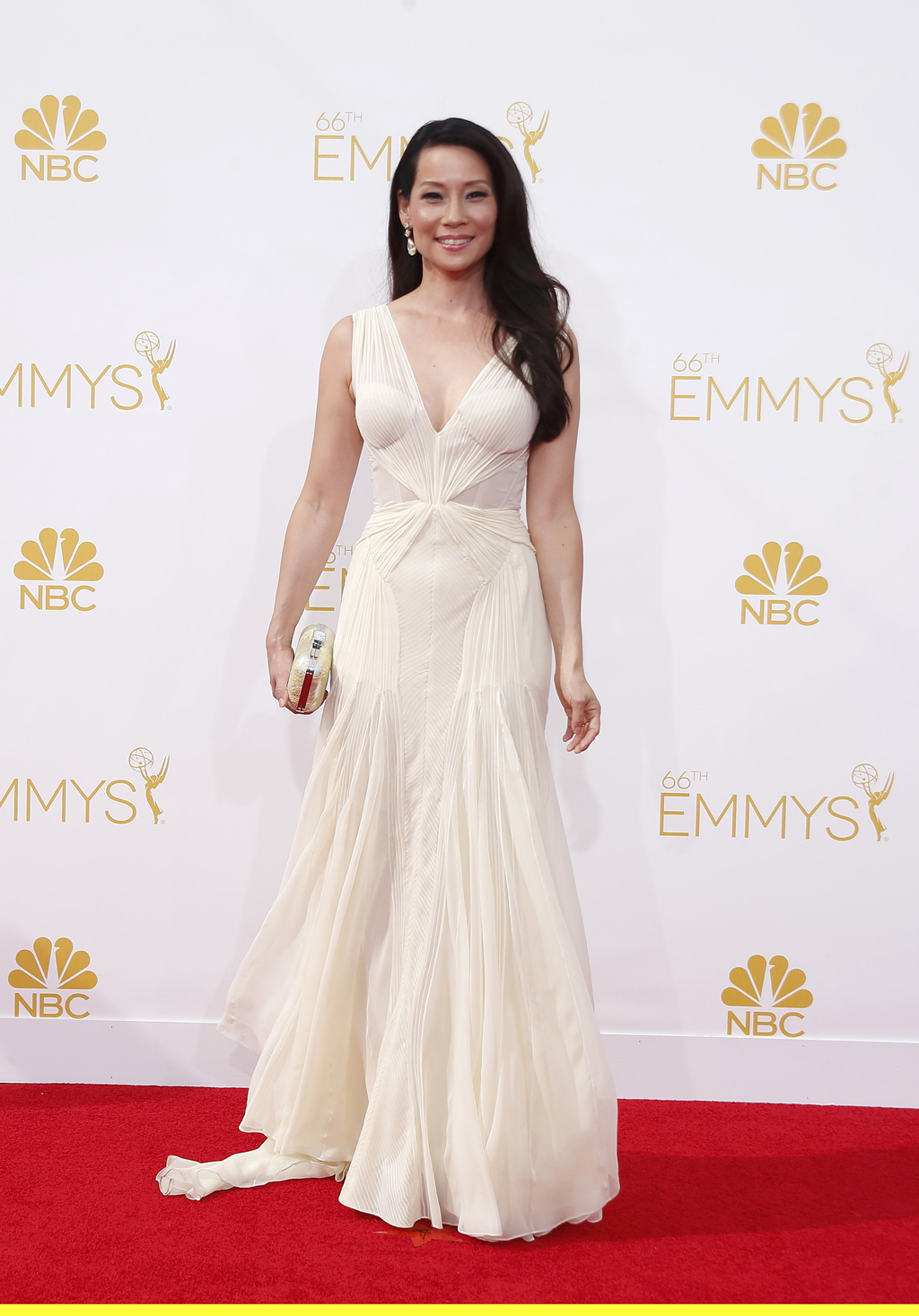 Lucy Liu arrives at the 66th Primetime Emmy Awards in Los Angeles