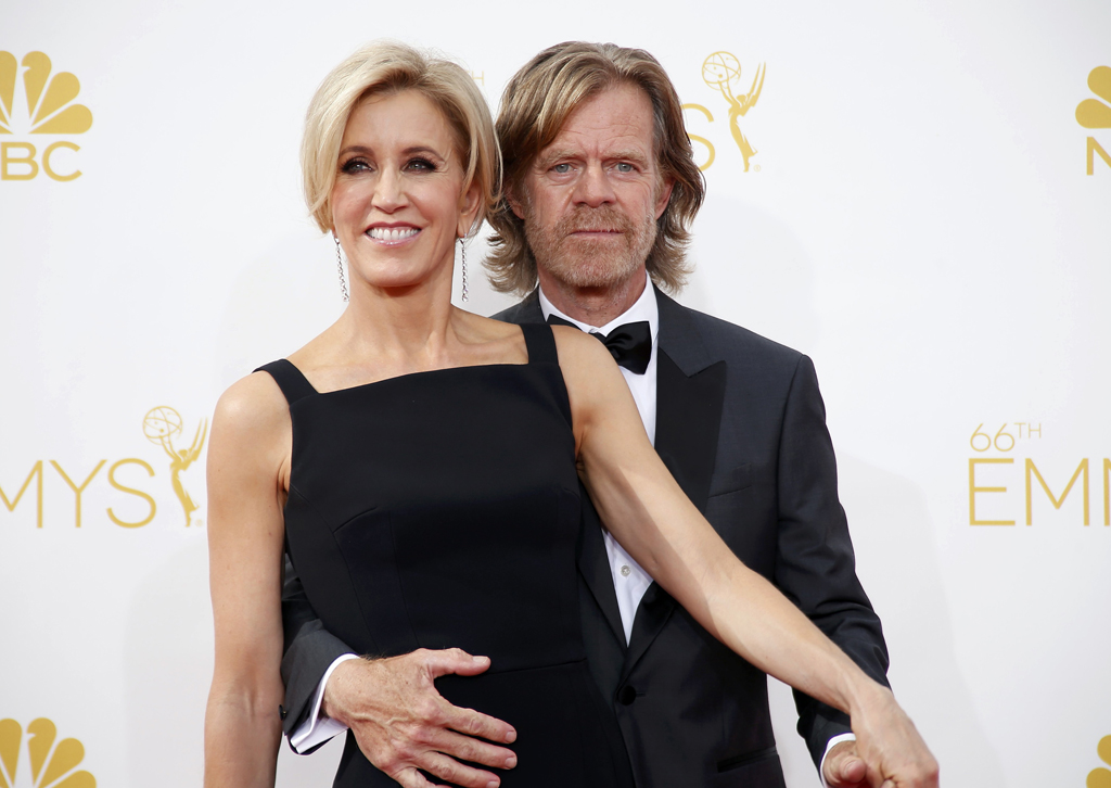 William H. Macy and Felicity Huffman arrive at the 66th Primetime Emmy Awards in Los Angeles
