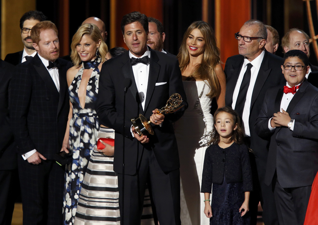 "Executive producer Steven Levitan accepts the award for Outstanding Comedy Series for ""Modern Family"" during the 66th Primetime Emmy Awards in Los Angeles"